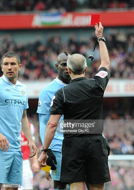 Barclays Premier League Arsenal v Manchester City Emirates Stadium Manchester City's Mario Balotelli is sent off by referee Martin Atkinson