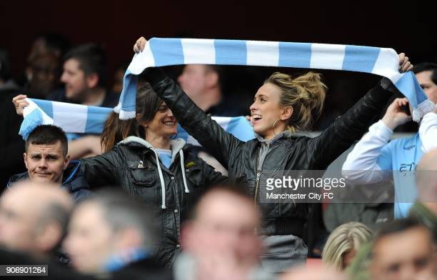 Barclays Premier League Arsenal v Manchester City Emirates Stadium Manchester City fans wave club scarfs in the stands