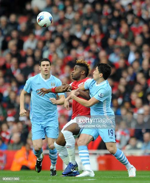 Barclays Premier League Arsenal v Manchester City Emirates Stadium Manchester City's Samir Nasri and Arsenal's Alex Song battle for the ball in the...