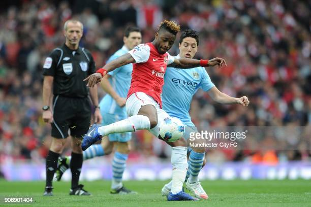 Barclays Premier League Arsenal v Manchester City Emirates Stadium Manchester City's Samir Nasri and Arsenal's Alex Song battle for the ball