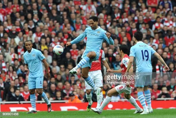Barclays Premier League Arsenal v Manchester City Emirates Stadium Manchester City's Joleon Lescott controls the ball away from Arsenal's Mikel Arteta