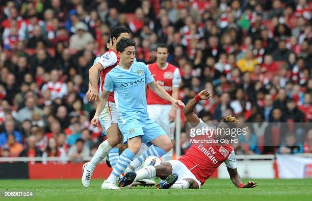 Barclays Premier League Arsenal v Manchester City Emirates Stadium Manchester City's Samir Nasri is tackled by Arsenal's Alex Song