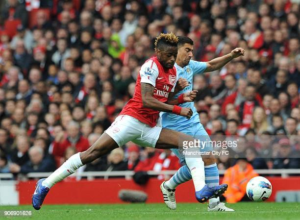 Barclays Premier League Arsenal v Manchester City Emirates Stadium Manchester City's David Pizarro and Arsenal's Alex Song battle for the ball