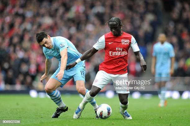 Barclays Premier League Arsenal v Manchester City Emirates Stadium Arsenal's Bacary Sagna and Manchester City's Gareth Barry battle for the ball