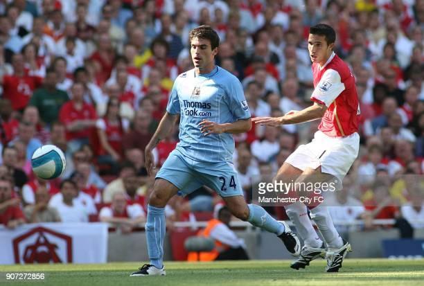 Barclays Premier League Arsenal v Manchester City Emirates Stadium Arsenal's Francesc Fabregas challenges Manchester City's Javier Garrido for the...