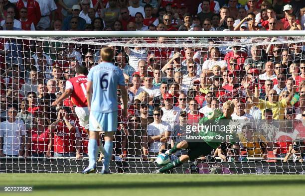 Barclays Premier League Arsenal v Manchester City Emirates Stadium Manchester City's Kasper Schmeichel saves Arsenal's Francesc Fabregas penalty