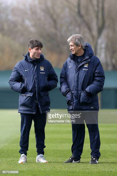 Barclays Premier League Arsenal v Manchester City Manchester City Training Carrington Team doctor Max Sala and Manager anuel Pellegrini during...