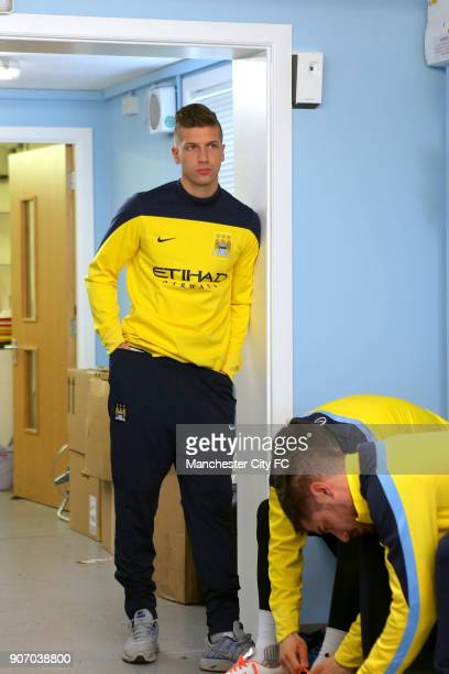 Barclays Premier League Arsenal v Manchester City Manchester City Training Carrington Manchester City's Matija Nastasic in the changing room at...