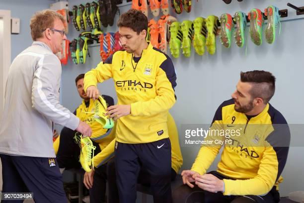 Barclays Premier League Arsenal v Manchester City Manchester City Training Carrington Manchester City's Les Chapman Jesus Navas and Alvaro Negredo in...