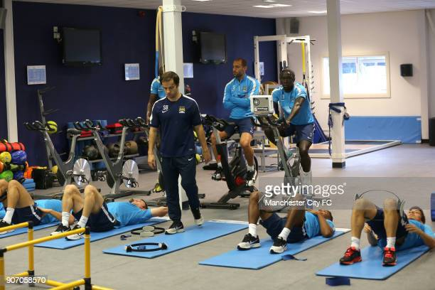 Barclays Premier League Arsenal v Manchester City Manchester City Training and Press Conference Carrington Training Ground Manchester City players in...