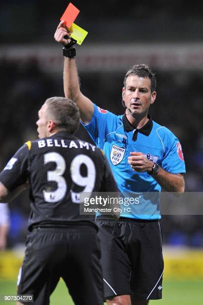 Barclays Premier League Bolton Wanderers v Manchester City Reebok Stadium Referee Mark Clattenburg shows the red card to Manchester City's Craig...