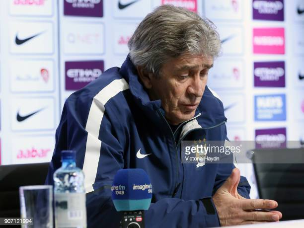 Barclays Premier League Burnley v Manchester City Manchester City Press Conference City Football Academy Manchester City manager Manuel Pellegrini...
