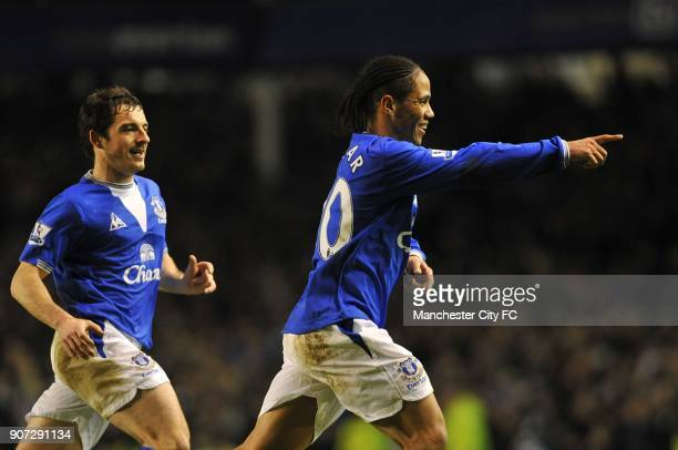 Barclays Premier League Everton v Manchester City Goodison Park Everton's Steven Pienaar celebrates scoring his sides first goal of the game with...