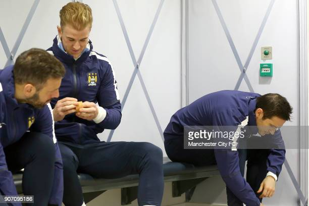 Barclays Premier League Everton v Manchester City Manchester City Training City Football Academy Manchester City's Joe Hart and Frank Lampard in the...