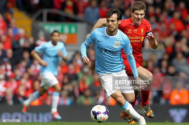 Barclays Premier League Liverpool v Manchester City Anfield Manchester City's David Silva battles for possession against Liverpool's Steven Gerrard