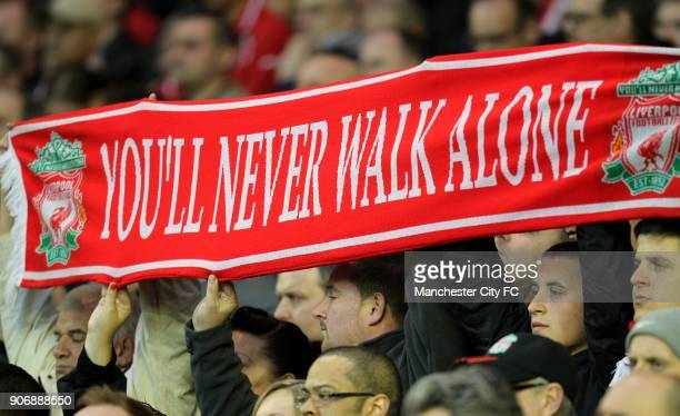 Barclays Premier League Liverpool v Manchester City Anfield Liverpool fans display a scarf in the stands with the words You'll Never Walk Alone as...