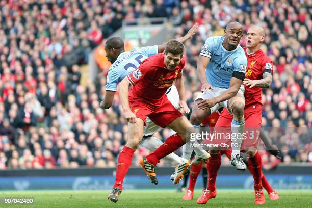 Barclays Premier League Liverpool v Manchester City Anfield Liverpool's Steven Gerrard and Manchester City's Vincent Kompany battle for the ball