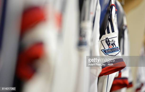 Barclays Premier League logo on the sleeve of a West Bromwich Albion players match shirt prior to the Barclays Premier League match between West...