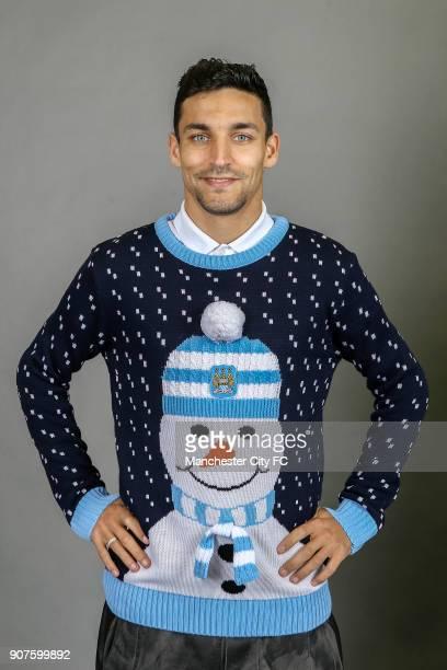Barclays Premier League Manchester City Christmas Photo Manchester City's Jesus Navas poses wearing an official Manchester City Christmas jumper