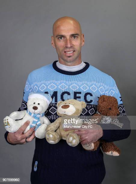 Barclays Premier League Manchester City Christmas Photo Manchester City goalkeeper Willy Caballero poses with official Manchester City cuddly toys