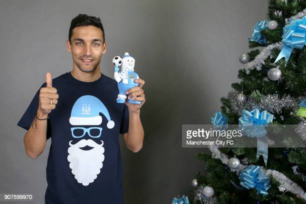 Barclays Premier League Manchester City Christmas Photo Manchester City's Jesus Navas poses wearing official Manchester City Chtismas Knome
