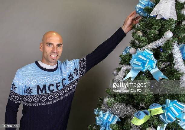 Barclays Premier League Manchester City Christmas Photo Manchester City goalkeeper Willy Caballero poses wearing an official Manchester City...