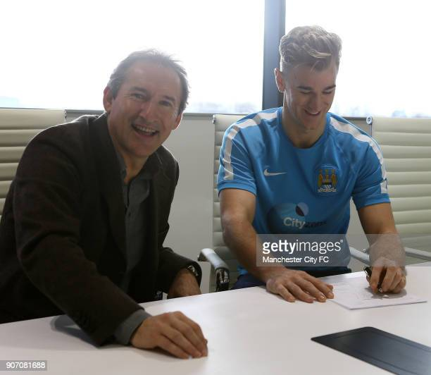 Barclays Premier League Manchester City Joe Hart Contract Signing The City Football Academy Manchester City goalkeeper Joe Hart signs his new...
