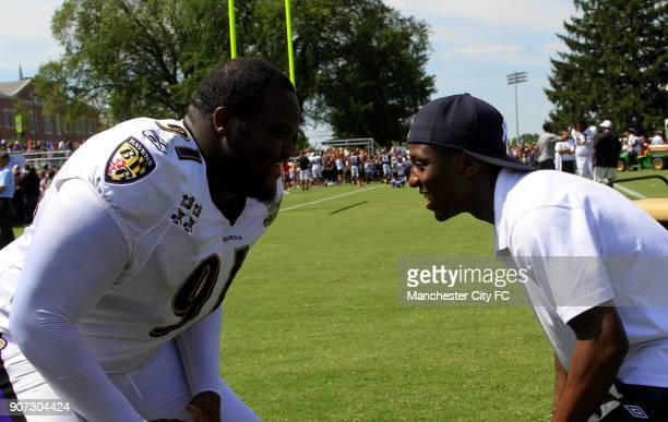 Barclays Premier League Manchester City Pre Season Tour Training with Baltimore Ravens Baltimore Manchester City's Shaun WrightPhillips squares up to...