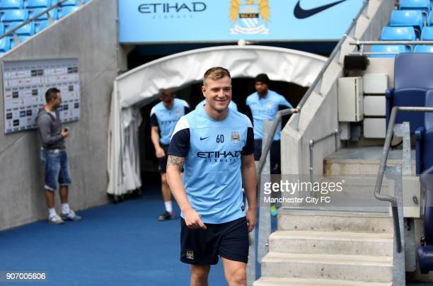 Barclays Premier League Manchester City Training and Press Conference Etihad Stadium Manchester City's John Guidetti during training