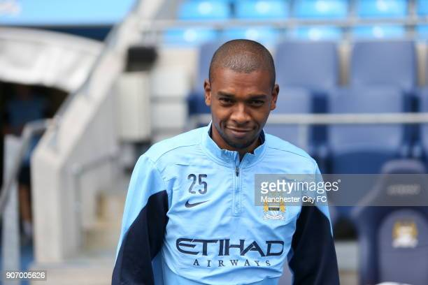 Barclays Premier League Manchester City Training and Press Conference Etihad Stadium Manchester City's Luis Fernandinho during training