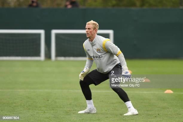 Barclays Premier League Manchester City Training Carrington Training Ground Joe Hart Manchester City goalkeeper