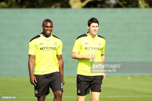 Barclays Premier League Manchester City Training Carrington Training Ground Manchester City's Micah Richards and Gareth Barry