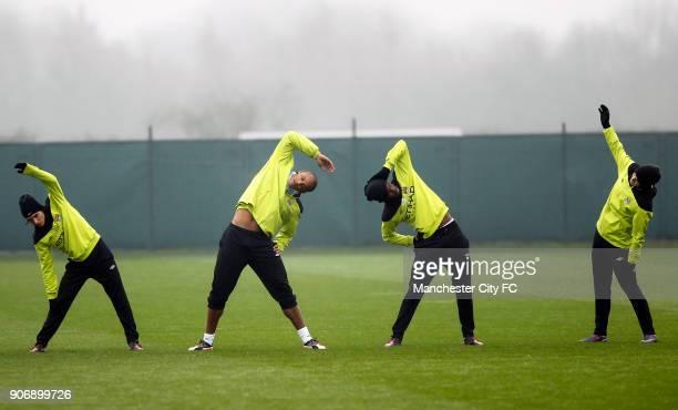 Barclays Premier League Manchester City Training Carrington Training Ground Manchester City's Gai Assulin Vincent Kompany Abdul Razak and Adam...