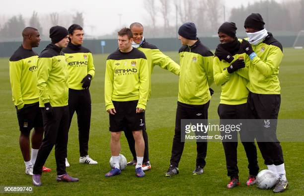 Barclays Premier League Manchester City Training Carrington Training Ground Manchester City's Micah Richards Adam Johnson Karim Rekik James Milner...