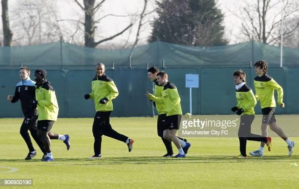 Barclays Premier League Manchester City Training Carrington Training Ground Manchester City's Micah Richards Vincent Kompany Gareth Barry James...