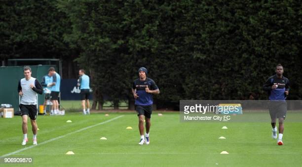 Barclays Premier League Manchester City Training Carrington Training Ground Manchester City's Adam Johnson Nigel de Jong and Abdul Razak during a...