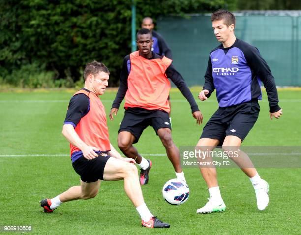 Barclays Premier League Manchester City Training Carrington Training Ground Manchester City's James Milner Abdul Razak and Matija Nastasic during a...