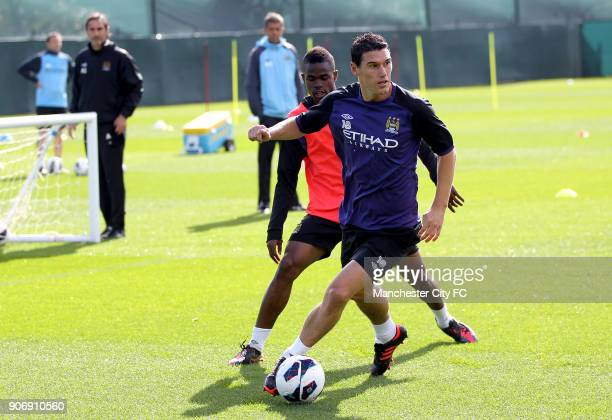 Barclays Premier League Manchester City Training Carrington Training Ground Manchester City's Gareth Barry and Abdul Razak during a training session...
