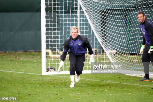 Barclays Premier League Manchester City Training Carrington Training Ground Manchester City goalkeepers Joe Hart and Richard Wright in training