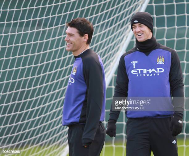 Barclays Premier League Manchester City Training Carrington Training Ground Manchester City's Joe Hart and Gareth Barry