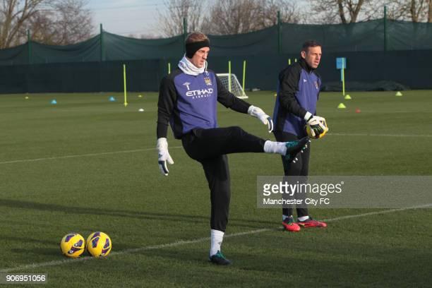 Barclays Premier League Manchester City Training Carrington Training Ground Manchester City goalkeepers Joe Hart and Richard Wright