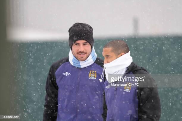Barclays Premier League Manchester City Training Carrington Training Ground Manchester City's Gael Clichy and Javi Garcia