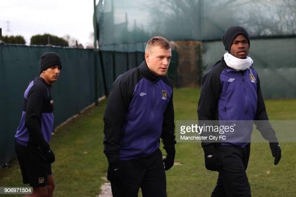 Barclays Premier League Manchester City Training Carrington Training Ground LR Manchester City's Scott Sinclair John Guidetti and Abdul Razak