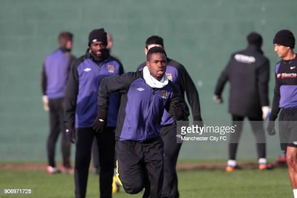 Barclays Premier League Manchester City Training Carrington Training Ground Manchester City's Abdul Razak in action during training