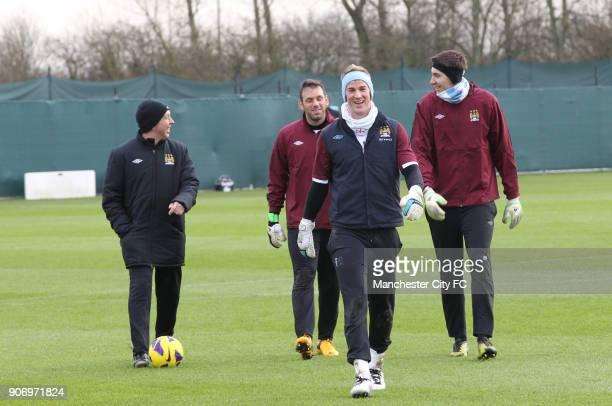 Barclays Premier League Manchester City Training Carrington Training Ground LR Manchester City first team coach David Platt with goalkeepers Richard...