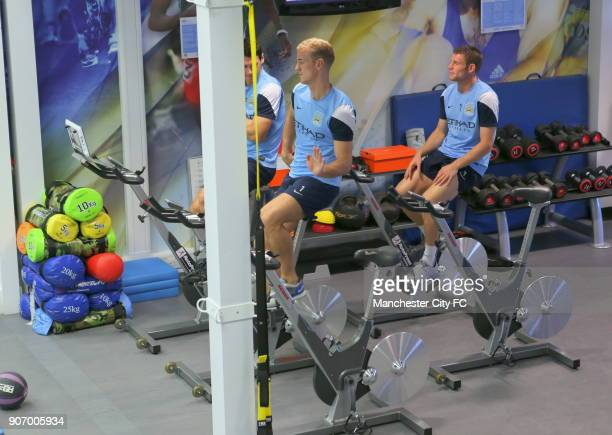 Barclays Premier League Manchester City Training Carrington Training Ground Manchester City's Joe Hart Gareth Barry and James Milner in the gym
