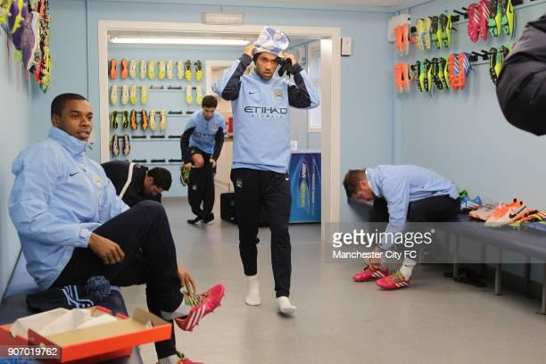 Barclays Premier League Manchester City Training Carrington Training Ground LR Manchester City's Fernandinho Jesus Navas Gael Clichy and Javi Garcia...