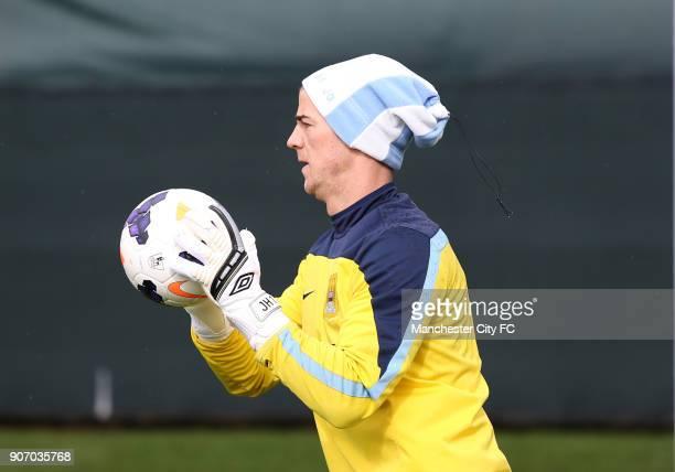 Barclays Premier League Manchester City Training Carrington Training Ground Manchester City Goalkeeper Joe Hart wears a hat during training