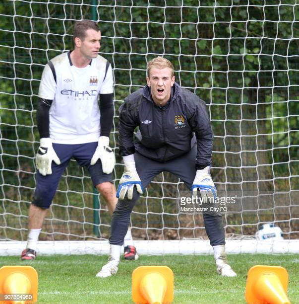 Barclays Premier League Manchester City Training Carrington Training Ground Manchester City goal keepers Shay Given and Joe Hart in training