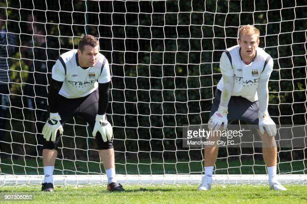 Barclays Premier League Manchester City Training Carrington Training Ground Manchester City's Shay Given and Joe Hart during training